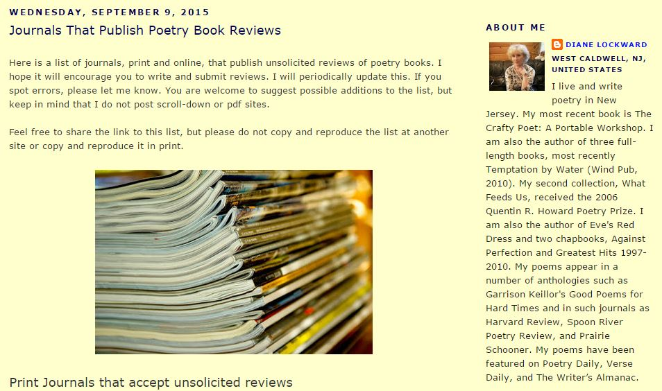 Journals That Publish Poetry Book Reviews by Diane Lockward