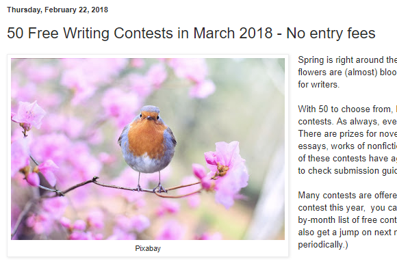 No fee writing contests with prizes