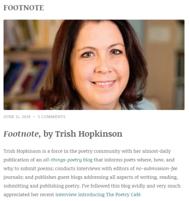 Chapbook Review: Footnote, by Trish Hopkinson – by Risa